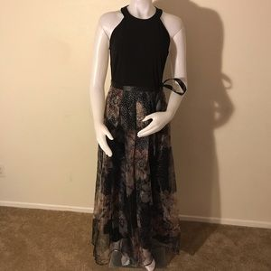 Candalite black floral sparkle skirt ball gown